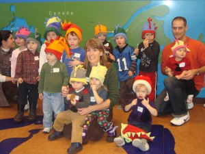 Christmas party, 2010. Yes, Ali made all those hats by hand.